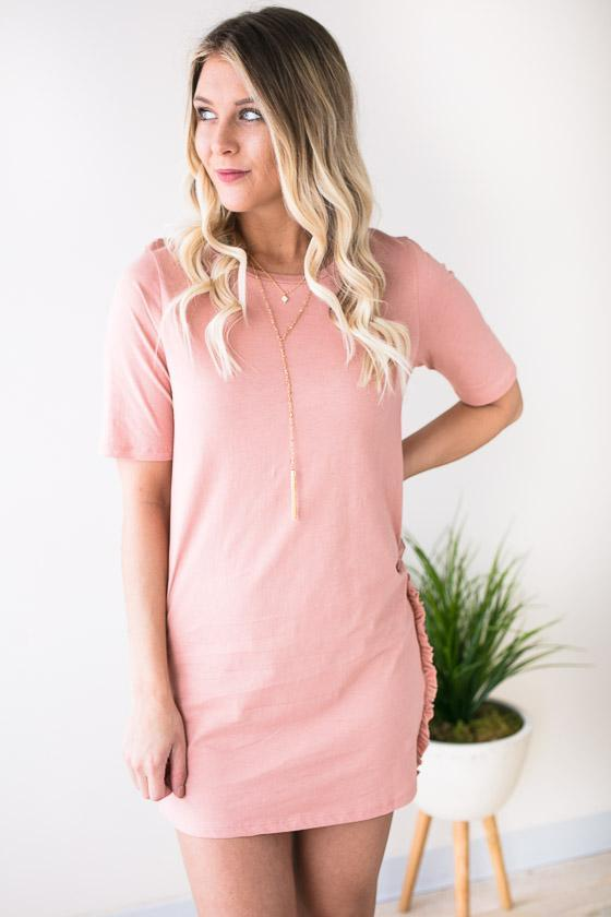 Rose Crew Neck Shirt Dress With Cute Ruffle Side Detail On Bottom