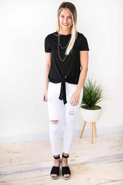 Tops On Call Tie Front Top - Black - Lotus Boutique