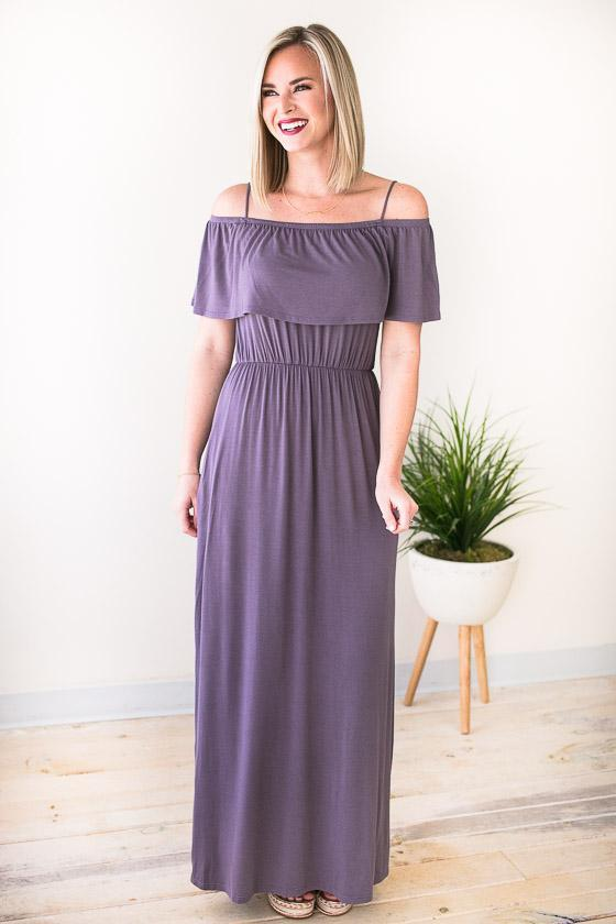 Dresses Feel The Breeze Off Shoulder Maxi Dress - Lotus Boutique