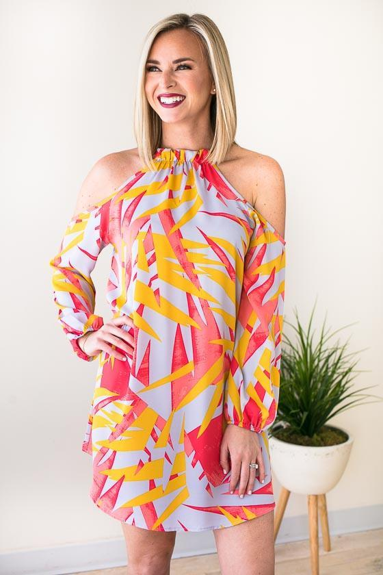 Tropical Dress with Cold Shoulders
