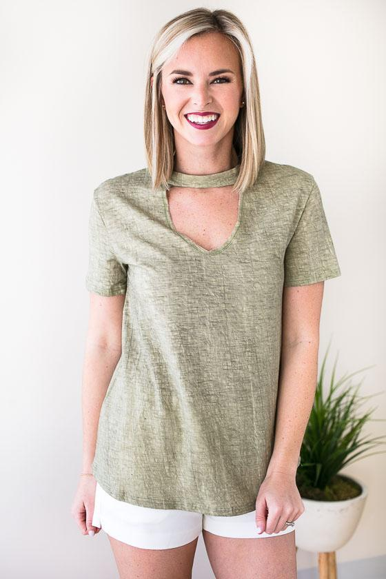 Super Easy And Comfy Choker Neck Short Sleeve Green Top