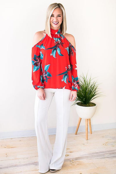 Tops Sound of Satin Tropical Cold Shoulder Top - Lotus Boutique