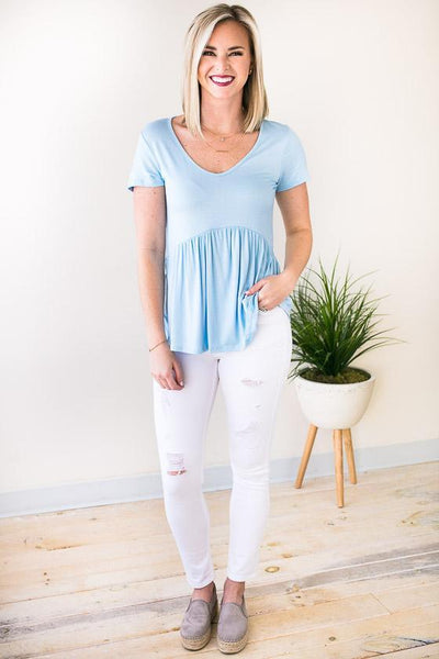 Tops Forever Your Girl Babydoll Top - Baby Blue - Lotus Boutique