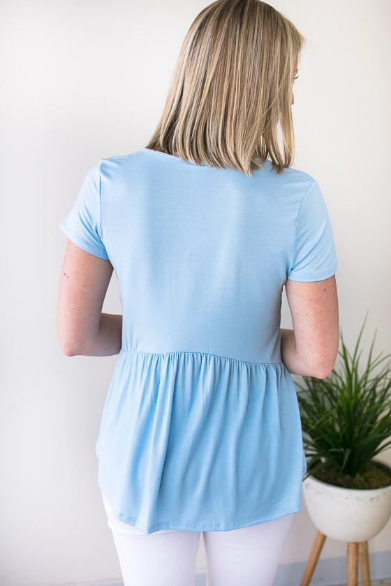Comfy And Flattering Light Blue Short Sleeve Babydoll Top