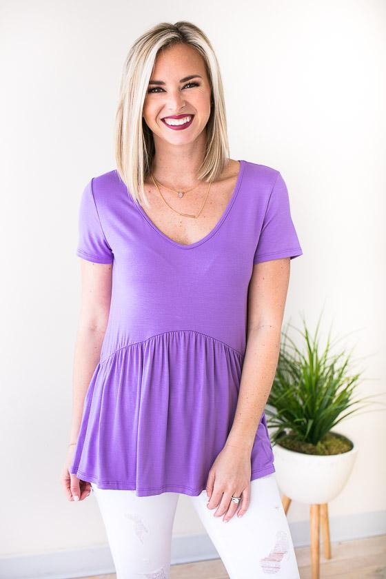Bright Lavender Short Sleeve Top