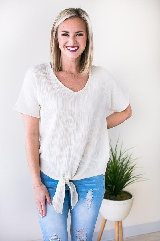 Taupe Short Sleeve Top With Tie Front And V Neckline
