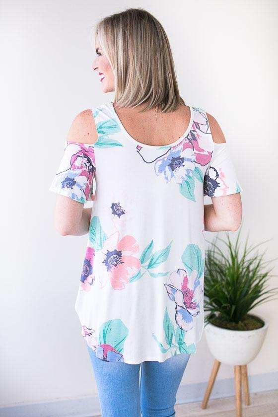 Beautiful Pastel Colored Cold Shoulder Top
