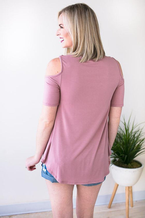 Mauve Top With Cold Shoulders