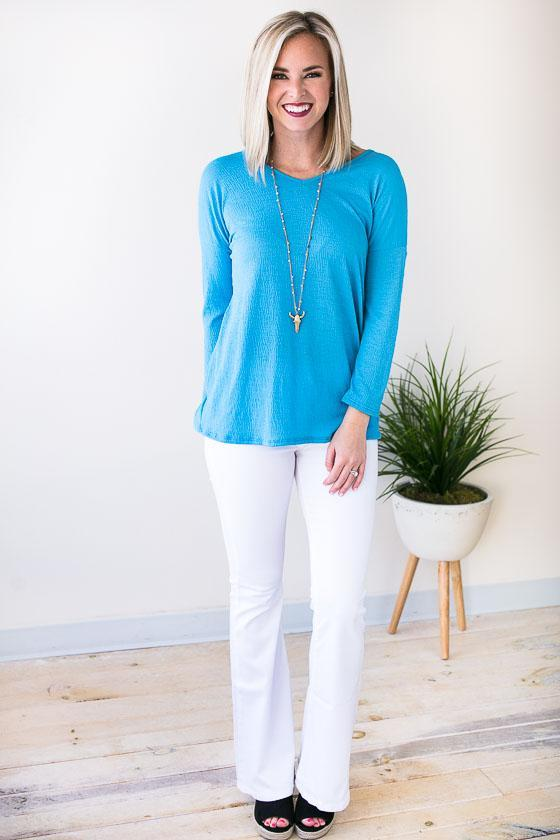 Light Weight Blue Top With Beautiful Twist Back Detail