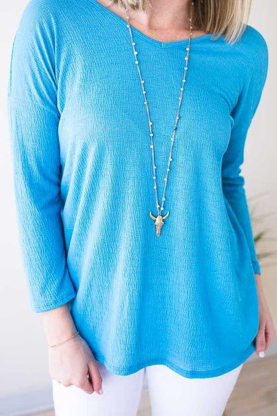 Tops Not So Basic Twist Back Top - Blue - Lotus Boutique