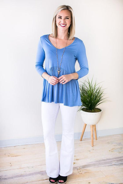 Flattering Baby Doll Top With 3/4 Sleeves In Periwinkle