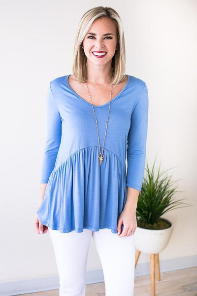 Tops This Is Me Babydoll Top - Periwinkle - Lotus Boutique