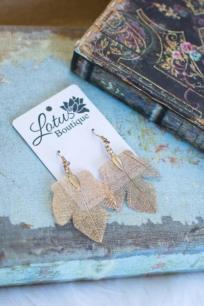 Accessories Anytime Gold Leaf Dangle Earrings - Lotus Boutique