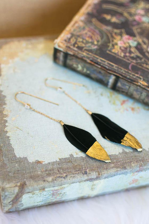 Long Black Feather Earrings Dipped In Gold