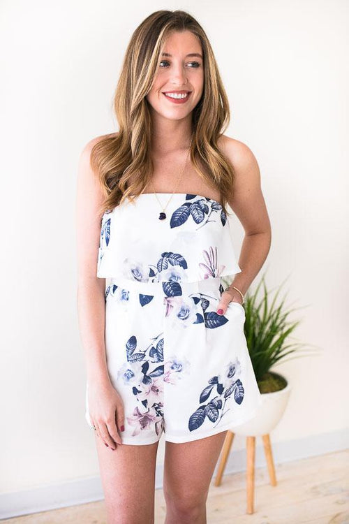 Gorgeous Ivory Floral Strapless Romper With Pockets