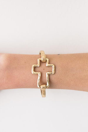 Beautiful And Classic Hammered Metal Gold Cross Bracelet