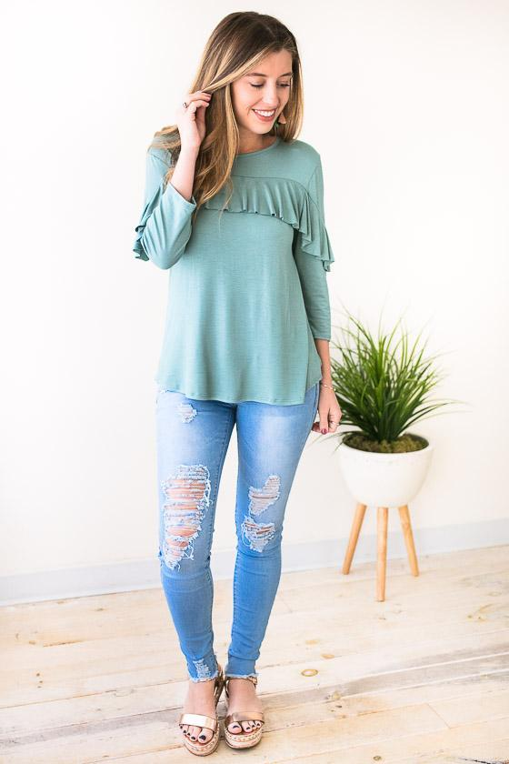 Tops For Now Ruffle Top - Sage  - Lotus Boutique