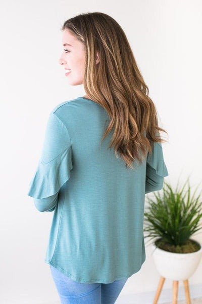 Basic Top With Ruffle Detail