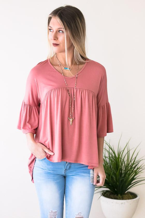 Dusty Rose High Low Flowy Top With Ruffle Sleeve Detail