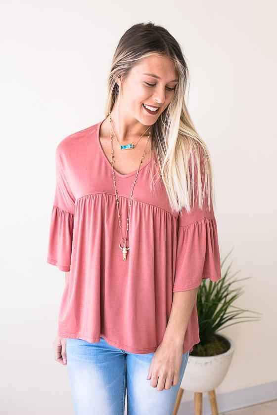 Tops On to the Next High Low Top - Dusty Rose - Lotus Boutique