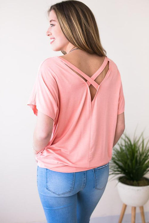 Cute And Comfy Coral Cross Back Top