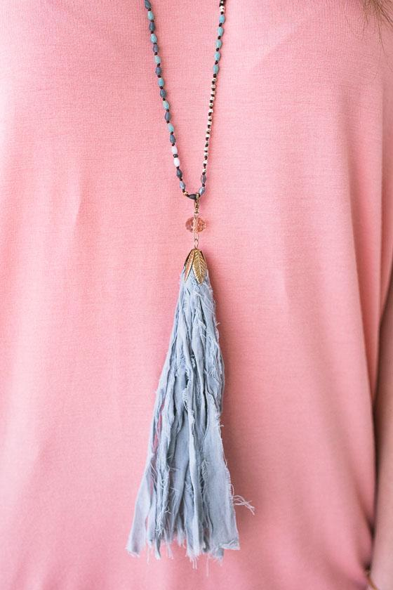 Adorable Blue Beaded Necklace With Long Fabric Tassel