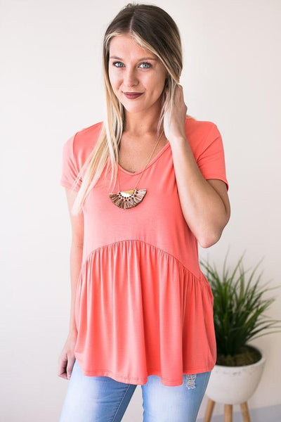 Tops Forever Your Girl Babydoll Top - Neon Coral - Lotus Boutique
