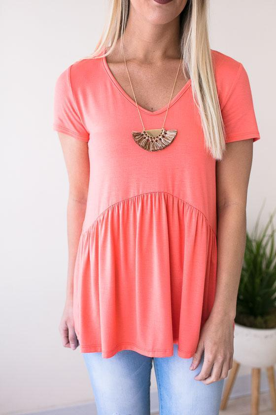 Super Fun Neon Coral Baby Doll Style Short Sleeve Top