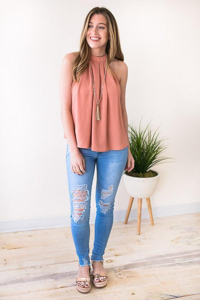 Tops Overtime Halter Neck Top - Apricot - Lotus Boutique