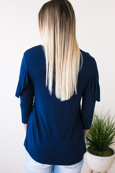 Tops For Now Ruffle Top - Navy - Lotus Boutique