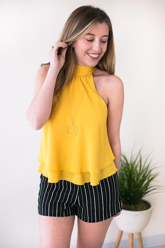 Yellow Halter Neck Top