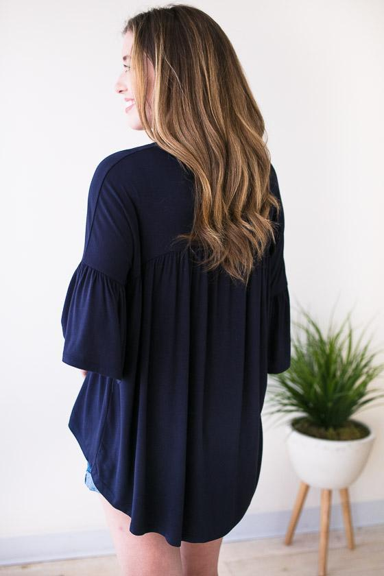 Tops On to the Next High Low Top - Navy - Lotus Boutique