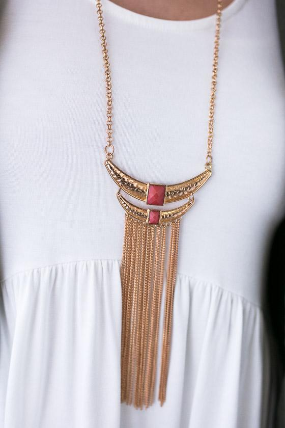 Accessories Layered Crescent Gold Tassel Necklace - Lotus Boutique