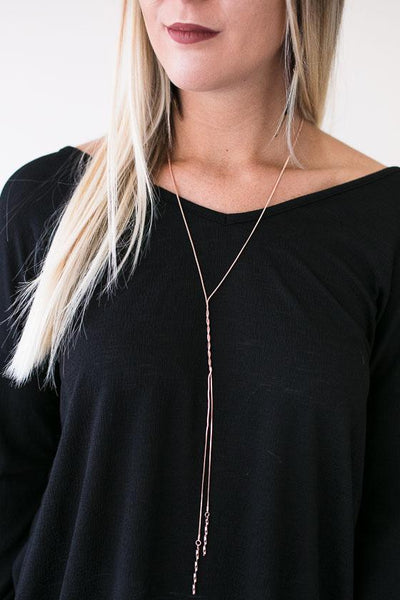 Accessories My Wish List Rose Gold Lariat Necklace - Lotus Boutique