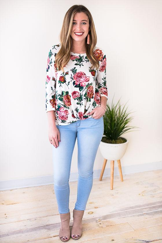 Tops Caught Up Floral Knot Front Top - Lotus Boutique
