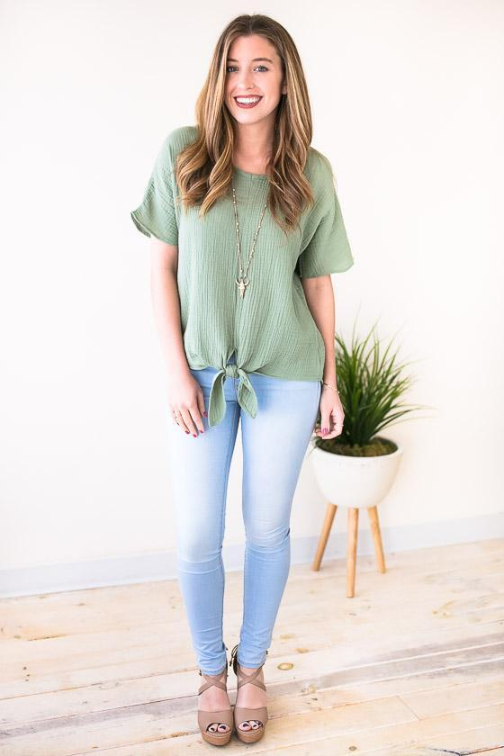 One Lucky Tie Front Top - Sage-Tops-Lotus Boutique-Lotus Boutique