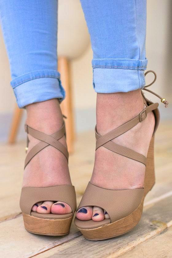 Shoes Put It In Neutral Strappy Wedge - Lotus Boutique