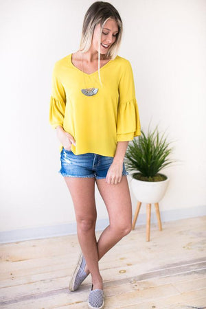 Good One Bell Sleeve Top - Mustard