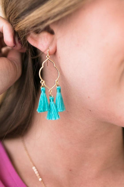 Accessories Mix It Gold Tassel Earrings - Turquoise - Lotus Boutique