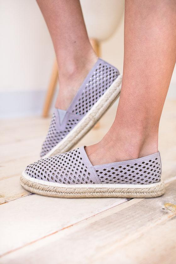 Grey Cut Out Detail Espadrille Slip On Shoes