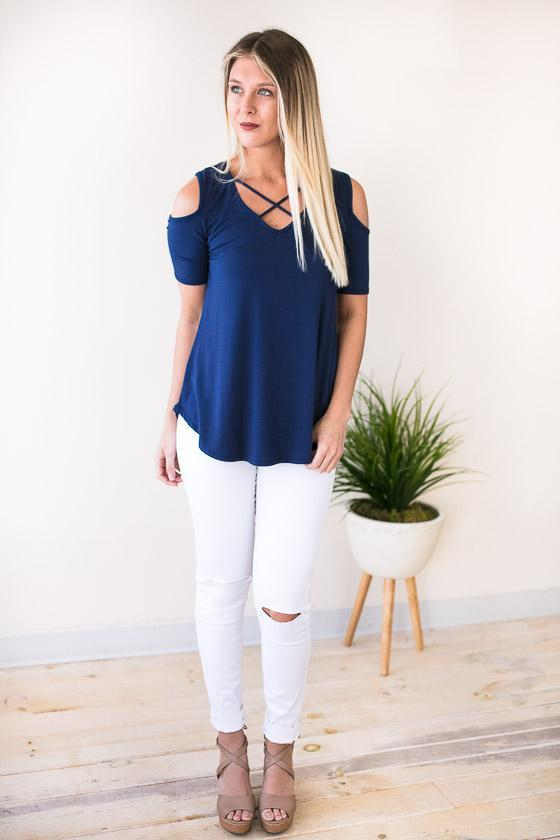 Basic Navy Top With Cold Shoulder And Cross Front Details
