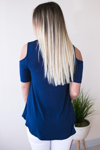 Tops Warm It Up Cold Shoulder Top - Navy - Lotus Boutique