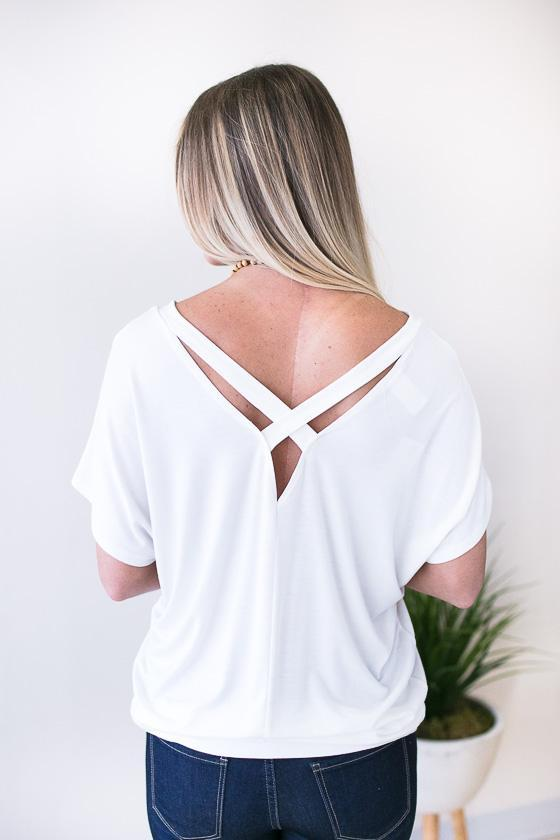 Tops Never Forget You Cross Back Top - Off White - Lotus Boutique