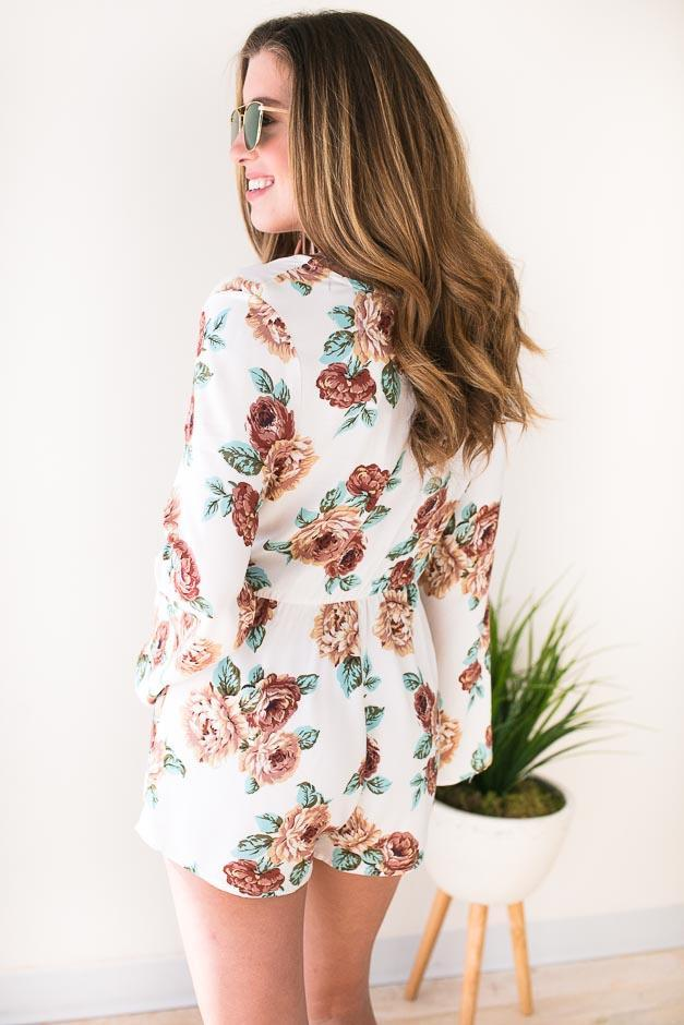 Playsuits New Thing Floral Romper - Ivory - Lotus Boutique