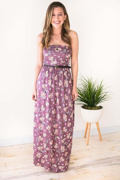 Floral Belted Strapless Maxi Dress