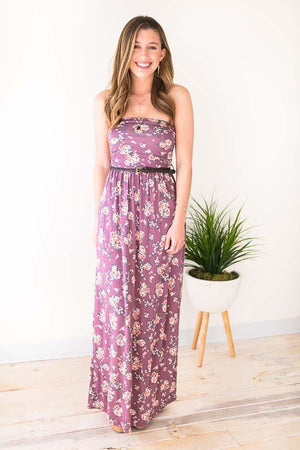 Purple Floral Print Belted Strapless Maxi
