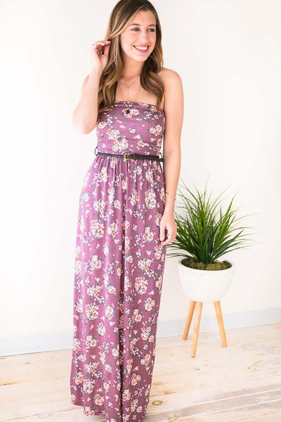 Easy Strapless Belted Maxi Dress