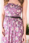 Purple Floral Strapless Maxi Dress