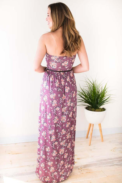 Belted Strapless Maxi Dress