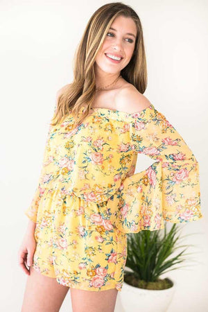So Cute Yellow Floral Off Shoulder Romper With Bell Sleeves